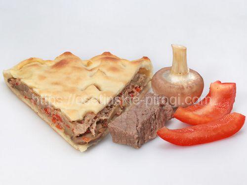 Осетинские пироги С говядиной, грибами и болгарским перцем