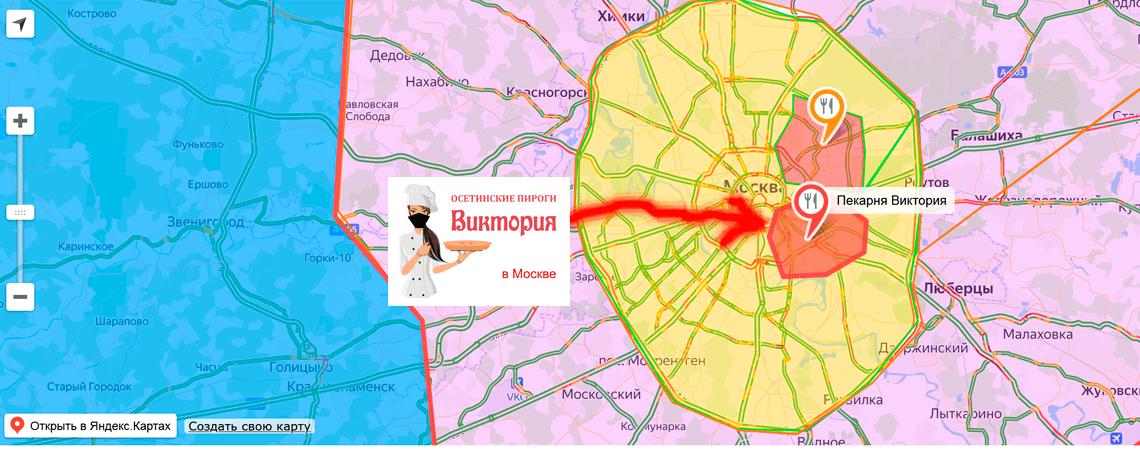 Карта доставки осетинских пирогов по Москве и Области